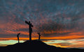 Crucifixion of Jesus With Dramatic Sky and Copy Space Royalty Free Stock Photo