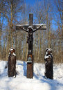 Crucifixion opposite the road leading to the monastery in the village tiganesti the republic of moldova Royalty Free Stock Images