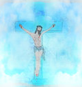 Crucifixion and resurrection of jesus christ on the cross raster Stock Image