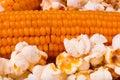 Crude corn and popcorn closeup Stock Photos