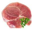 Crude meat with parsley on white close up Royalty Free Stock Photo