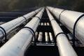 Crude oil pipeline transportation to refinery silver Stock Photo