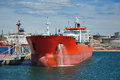 Crude oil tanker is loading in the port Stock Photos