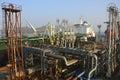 Crude oil tanker oilr for loading operation in the port Stock Image