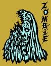 Cruel blue zombie female. Vector illustration.