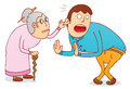 Cruel grandma illustration of a with his son available in vector eps file Stock Photos