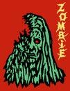 Cruel green face of zombie woman.