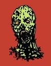 Cruel zombie head. Vector illustration