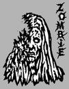 Cruel zombie woman face. Vector illustration.