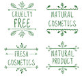 Cruelty free, natural cosmetics, natural product, fresh cosmetics. Flourish vignettes and handwritten letters. VECTOR