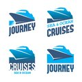 Cruise liner four blue labels with stylized in vector Royalty Free Stock Image