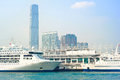 Cruise liner in hong kong view on kowloon island from ferry boat s a r Royalty Free Stock Images