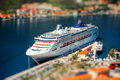 Cruise liner in kotor bay near the old city top view from the mountain Stock Image