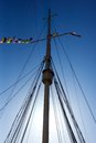 Cruise liner mast tall of a classic stands in the sun light Royalty Free Stock Photo