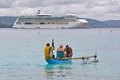 Cruise liner radiance of the seas at champagne bay vanuatu Royalty Free Stock Photography