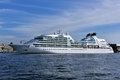 Cruise liner seabourn quest departs from st petersburg russia august the neva river the ship built in provides luxury for Royalty Free Stock Photography