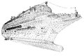 Cruise liner ship body structure wire model Royalty Free Stock Images