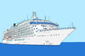 Cruise liner vector white ship on a background of sea and sky Stock Photography