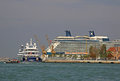 Cruise liner in a water of the venetian lagoon venice italy september Stock Images