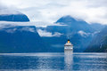 Cruise liners on hardanger fjorden ship norway Royalty Free Stock Image