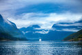 Cruise liners on hardanger fjorden ship norway Royalty Free Stock Image