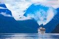 Cruise liners on hardanger fjorden ship norway Royalty Free Stock Photos