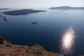 Cruise liners near the island of Santorini. Caldera View Royalty Free Stock Photo