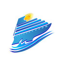 Cruise logo sun and waves Stock Photos
