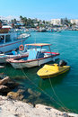Cruise and sailing ships in Agia-Napa harbor Stock Image