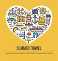 Cruise set summer travel in shape of heart on yellow