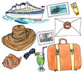 Cruise set - watercolor painting on white background