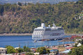 Cruise Ship Anchored in Bay Stock Images