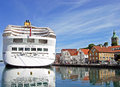 The cruise ship AURORA by P&O Cruises has moored at Skagenkaien Pier in the port of Stavanger Norway Royalty Free Stock Photo