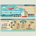 Cruise ship boarding pass design template Royalty Free Stock Photo
