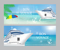 Cruise ship with «Bon Voyage» headline. Set poster or banner