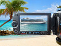 Cruise ship on camera screen Stock Image