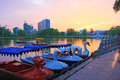 Cruise ship china s national wetland park a Stock Photography