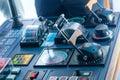 Cruise ship controls electronics and on the bridge of a luxury Stock Image