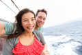 Cruise ship couple taking selfie photo self portrait romantic happy lovers women and men traveling on vacation travel sailing on Stock Image