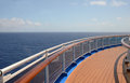 Cruise ship deck open sea seen from wide empty ocean liner Royalty Free Stock Photography