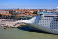Cruise ship docked in venice large ocean liner the port of Royalty Free Stock Image