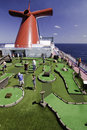 Cruise ship fun - Miniature golf at sea Royalty Free Stock Photography