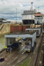 Cruise ship going through locks in Panama Canal Royalty Free Stock Photo