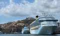 Cruise ship in the gulf of naples a view from sea a napoli Stock Photos