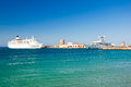 Cruise ship in a harbour greece rhodes on july Royalty Free Stock Photography