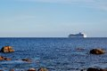 Cruise ship on the horizon Royalty Free Stock Photo