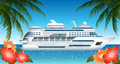 Cruise ship illustration of with palms and hibiscuses Stock Photo