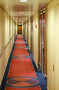 Cruise ship interior corridor and cabins Stock Photos