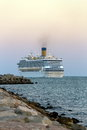 Cruise ship a is leaving venice at the evening Royalty Free Stock Photography
