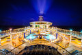 Cruise ship liner deck night at Royalty Free Stock Photos
